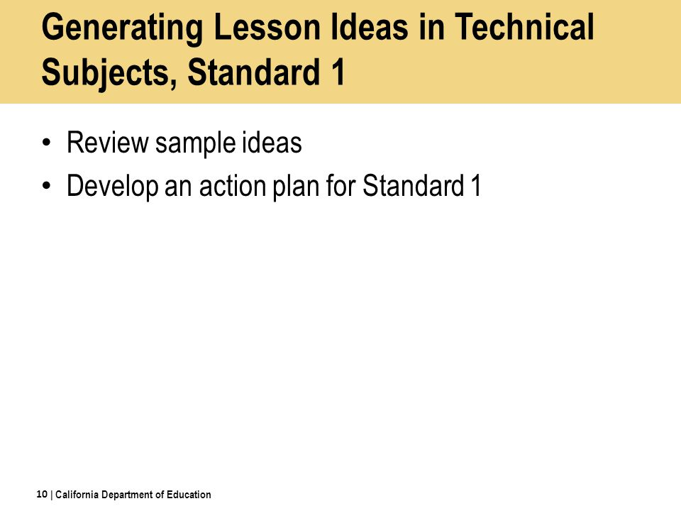 Generating Lesson Ideas in Technical Subjects, Standard 1