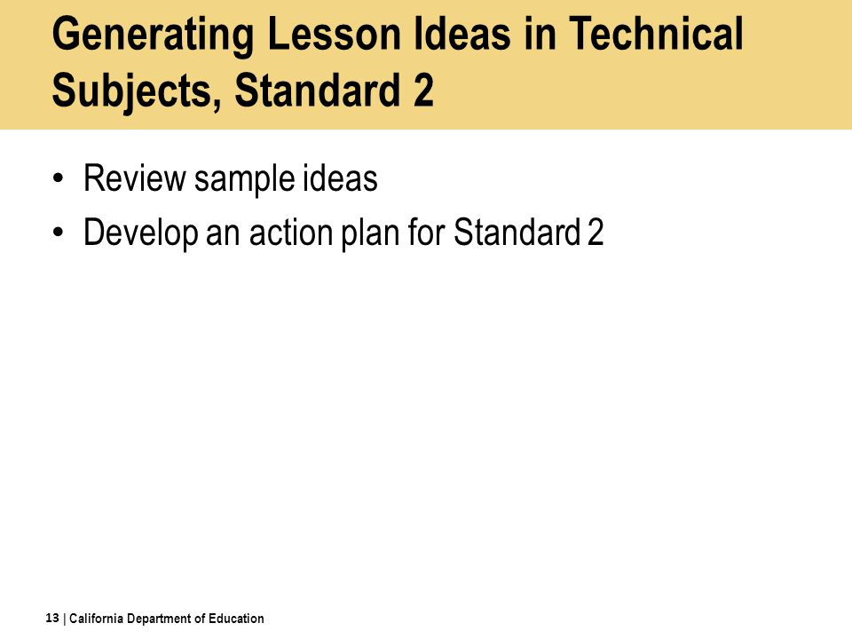 Generating Lesson Ideas in Technical Subjects, Standard 2