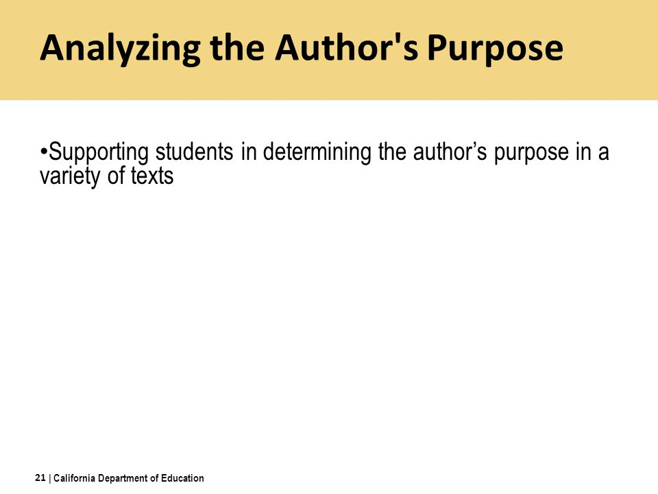 Analyzing the Author s Purpose