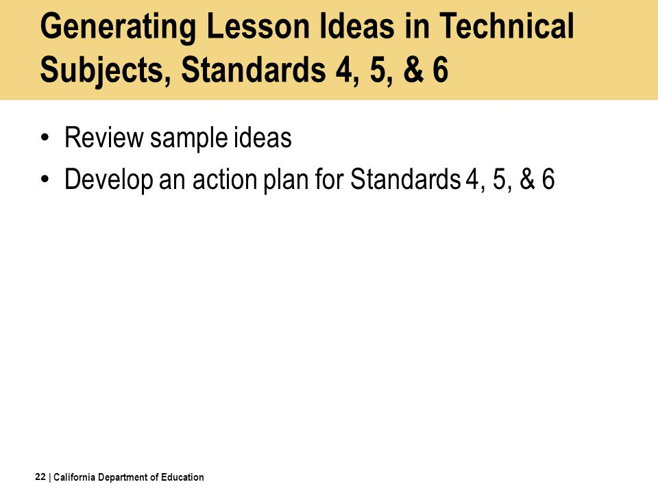 Generating Lesson Ideas in Technical Subjects, Standards 4, 5, & 6