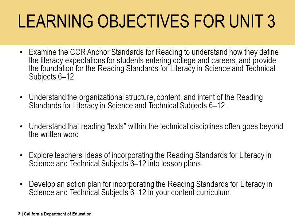LEARNING OBJECTIVES FOR UNIT 3