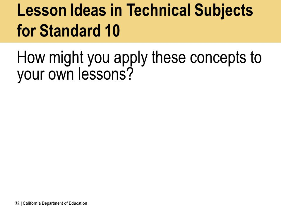 Lesson Ideas in Technical Subjects for Standard 10