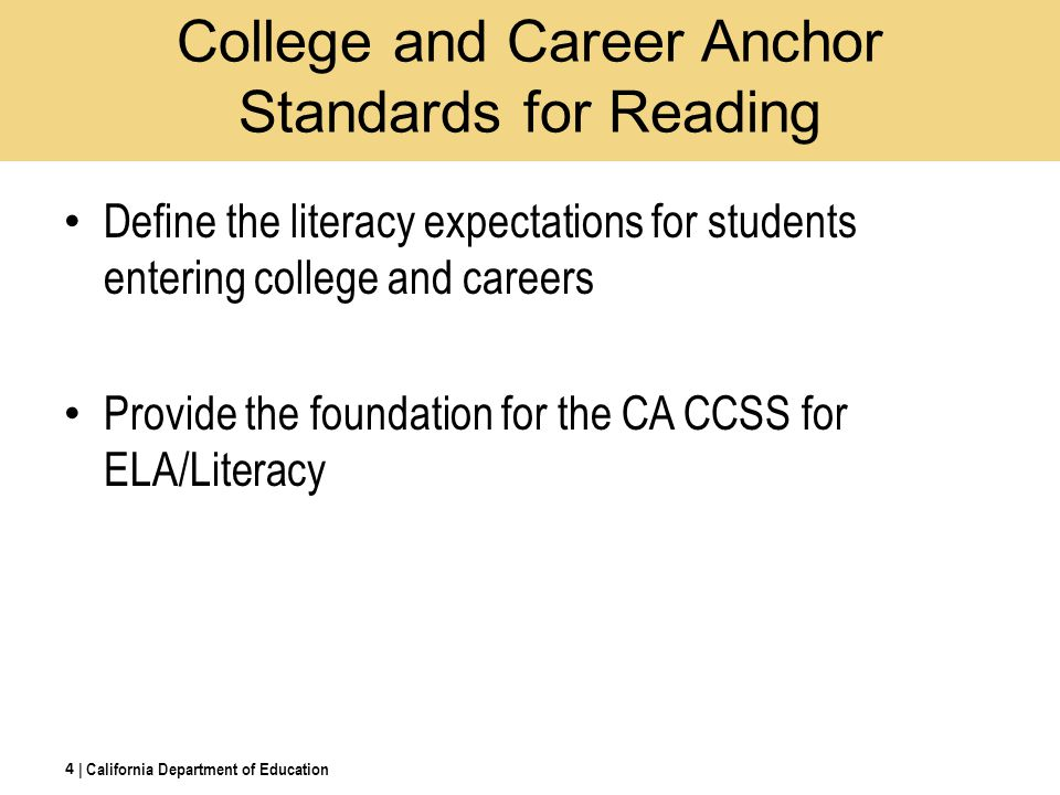 College and Career Anchor Standards for Reading