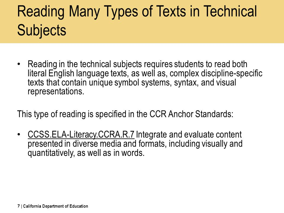 Reading Many Types of Texts in Technical Subjects