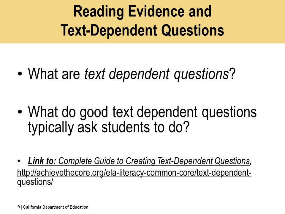 Reading Evidence and Text-Dependent Questions