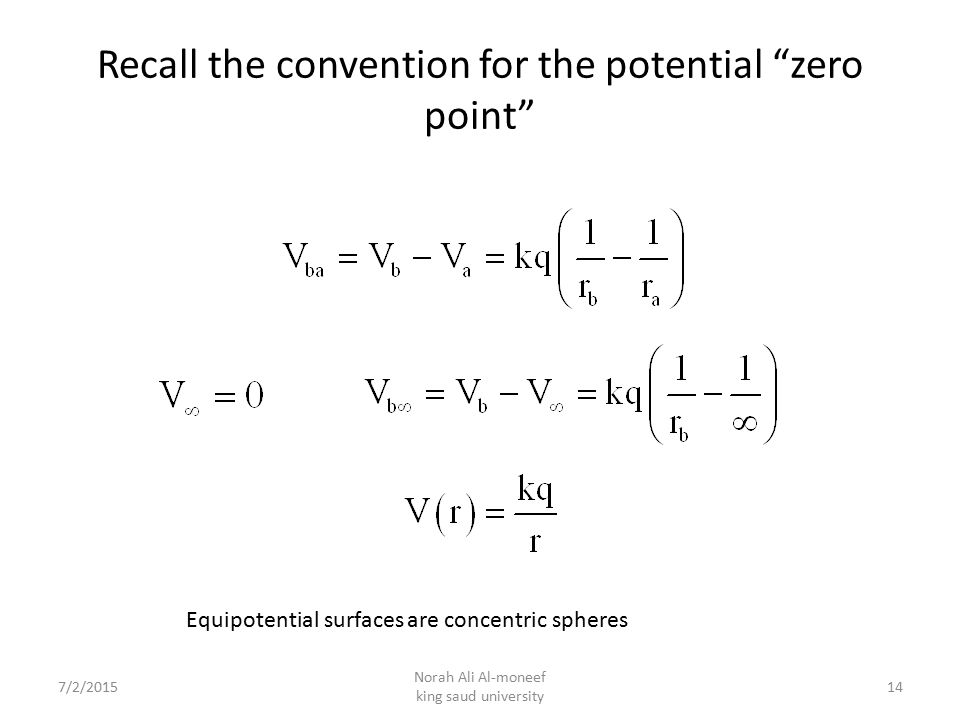 Recall the convention for the potential zero point