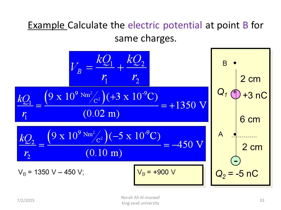 Example Calculate the electric potential at point B for same charges.