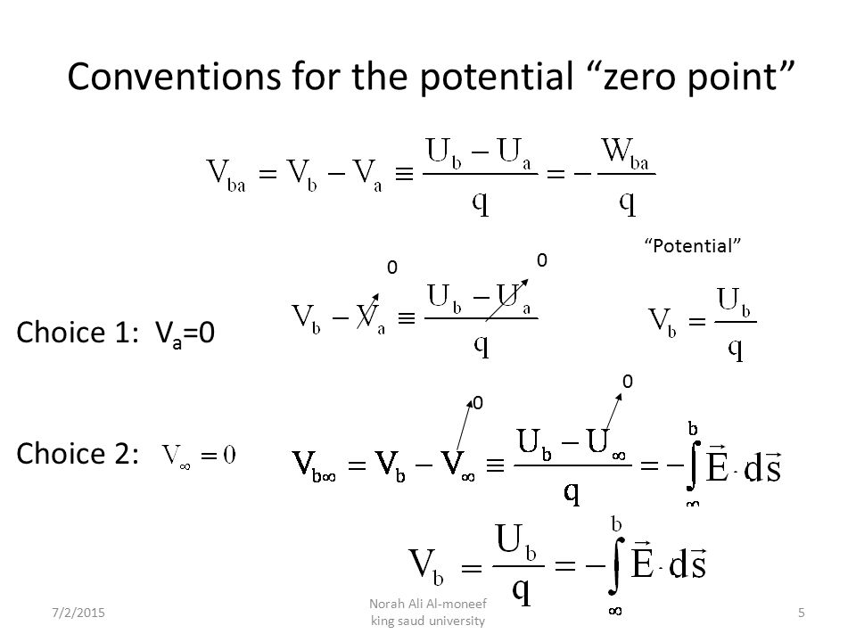 Conventions for the potential zero point