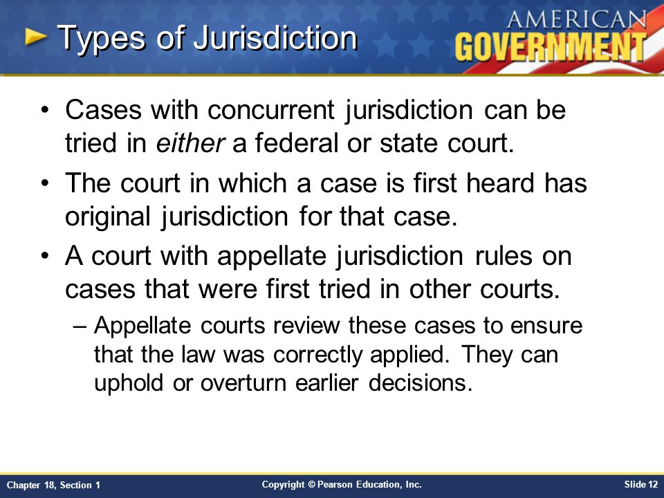 Types of Jurisdiction Cases with concurrent jurisdiction can be tried in either a federal or state court.