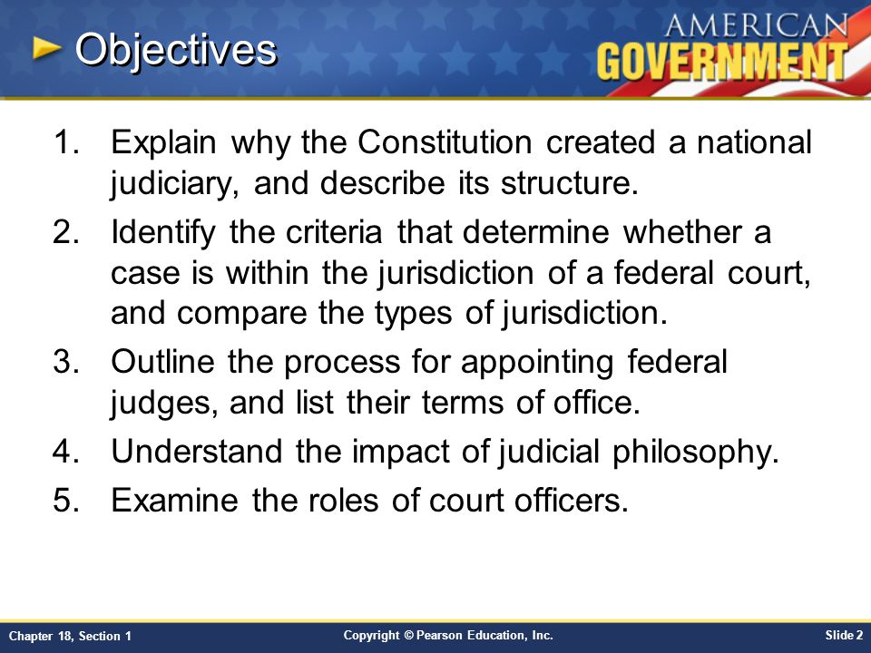 Objectives Explain why the Constitution created a national judiciary, and describe its structure.