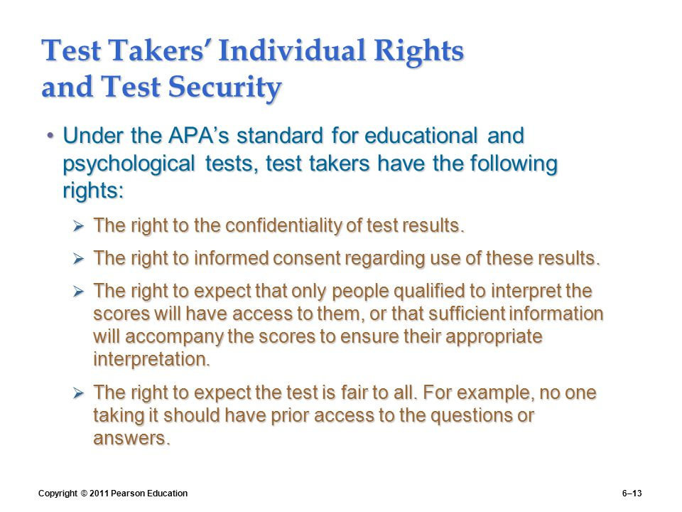 Test Takers' Individual Rights and Test Security