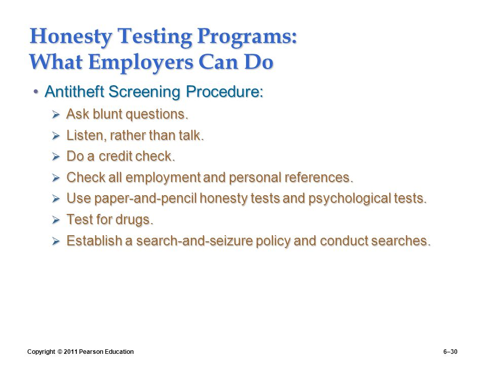 Honesty Testing Programs: What Employers Can Do
