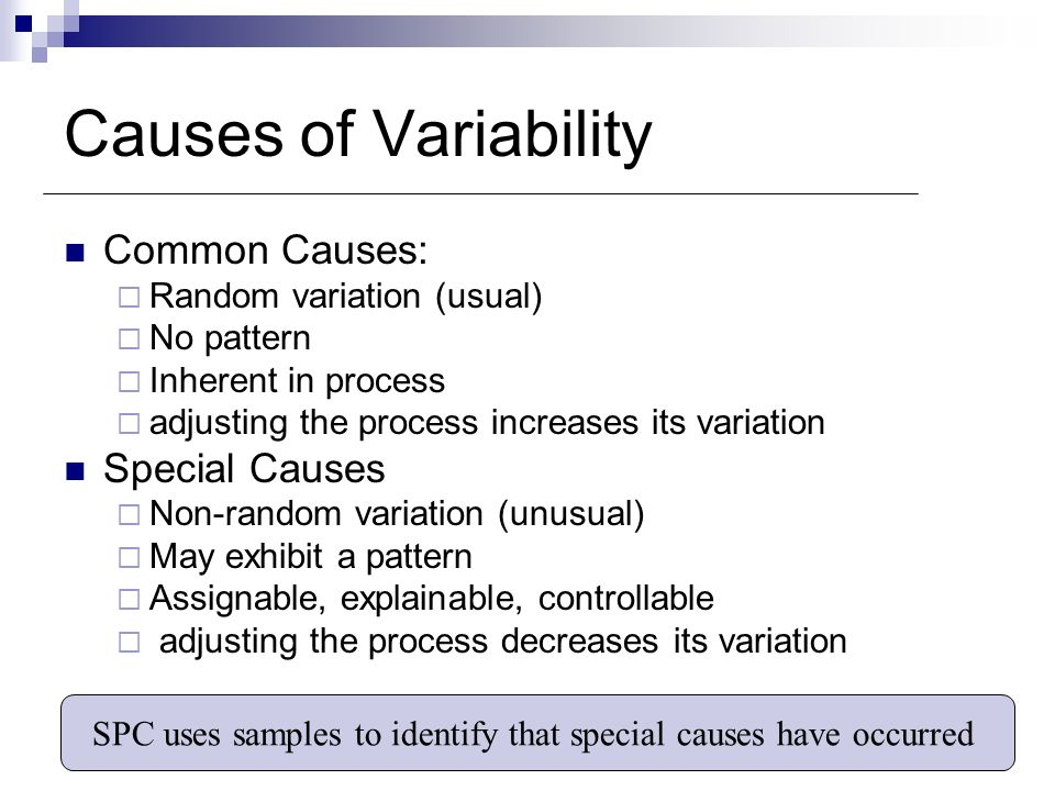SPC uses samples to identify that special causes have occurred