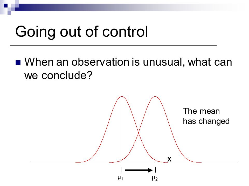 Going out of control When an observation is unusual, what can we conclude μ2. The mean. has changed.