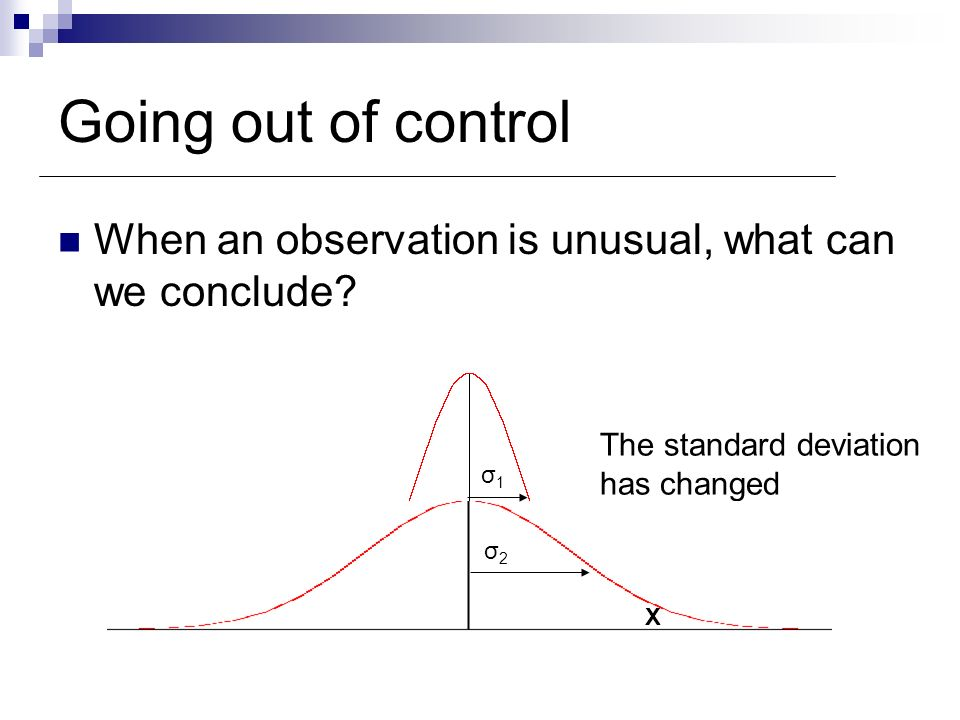 Going out of control When an observation is unusual, what can we conclude The standard deviation.