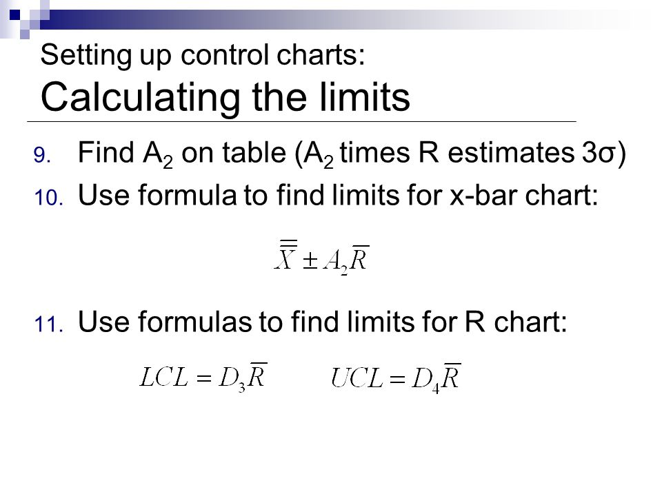 Setting up control charts: Calculating the limits