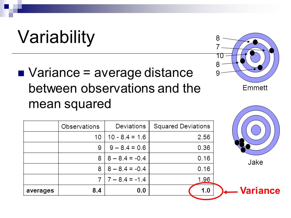 Variability Variance = average distance between observations and the mean squared.