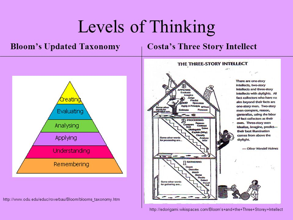 levels of thinking blooms taxonomy Bloom's taxonomy categorizes thinking skills  com/benefit-using-blooms-taxonomy-6749935html  rudnicki, alicia what is the benefit of using bloom's taxonomy.
