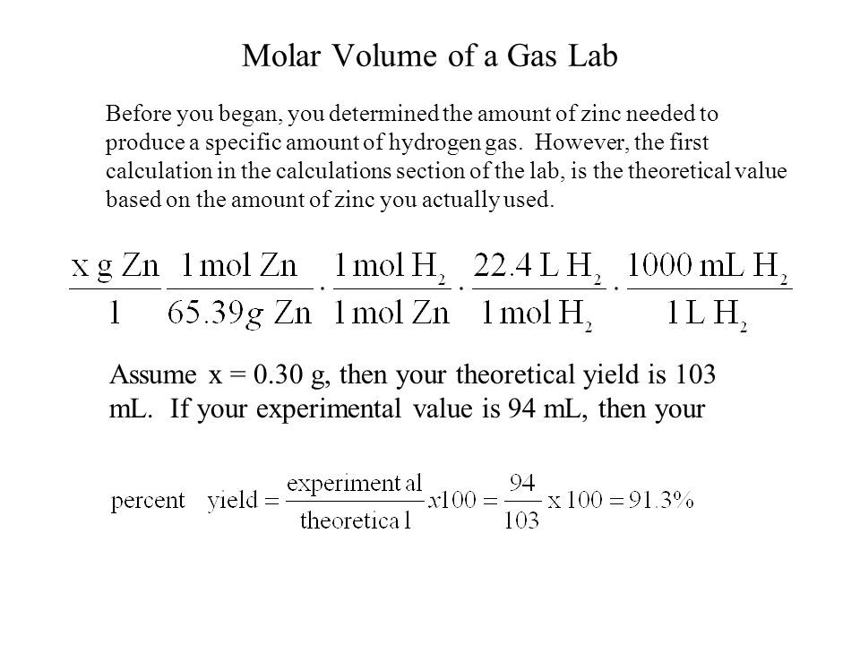 molar volume of a gas lab Molar gas volume: key concepts 1 mole of a gas occupies a specific volume at a particular temperature and pressure this is known as the molar volume and given the symbol v m.