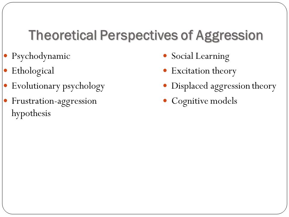 psychodynamic theory on aggression This scenario points out some of the strengths of the psychodynamic approach first of all, it focuses on how your past, particularly your childhood, can influence your current behavior.