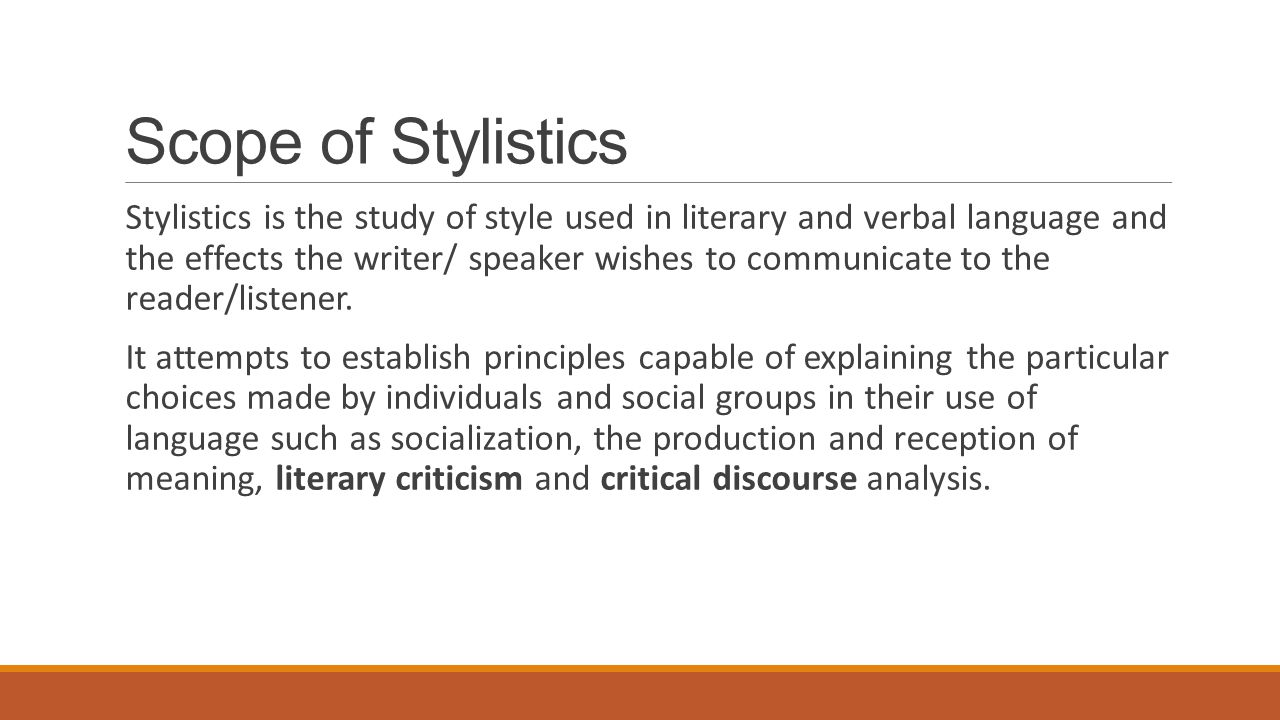 Scope of Stylistics