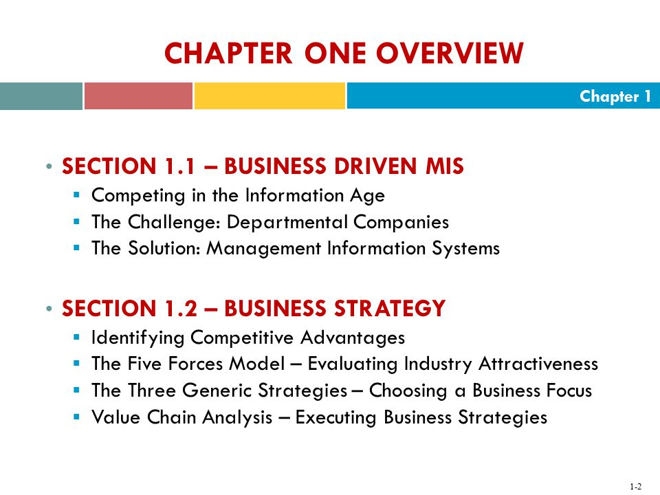 CHAPTER ONE OVERVIEW SECTION 1.1 – BUSINESS DRIVEN MIS