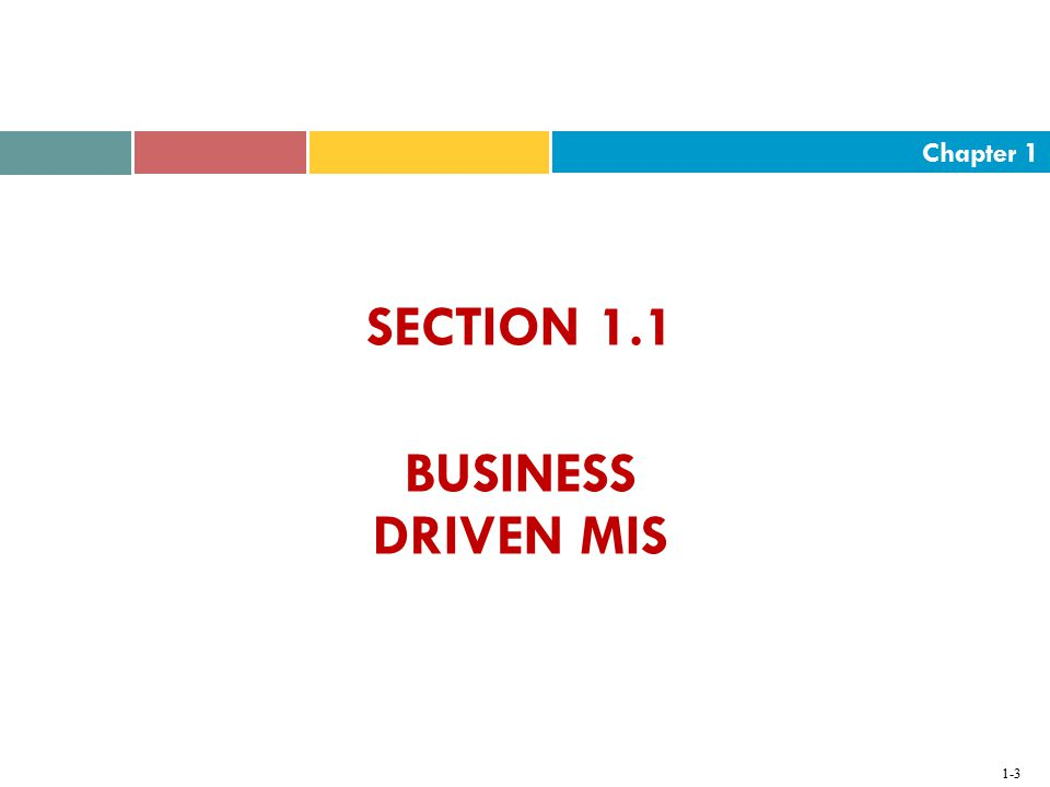 SECTION 1.1 BUSINESS DRIVEN MIS