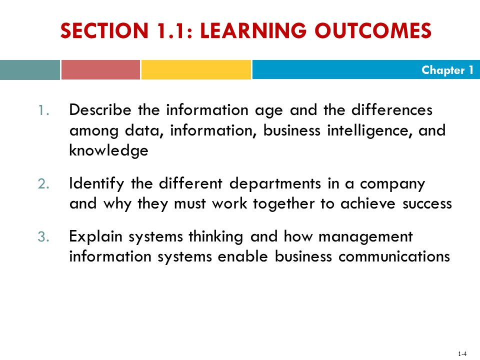 SECTION 1.1: LEARNING OUTCOMES