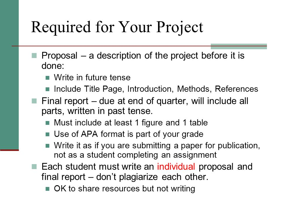 Required for Your Project