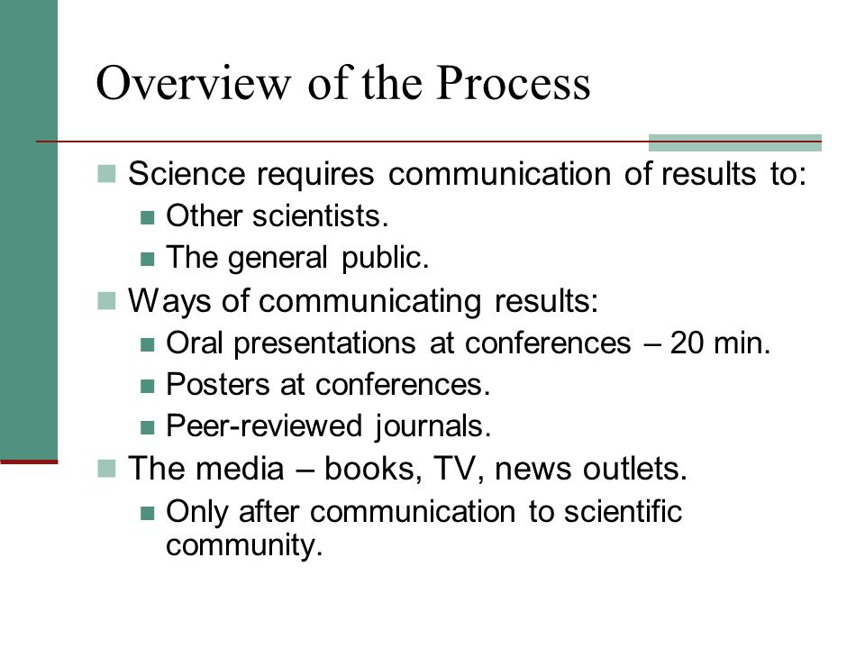 Overview of the Process