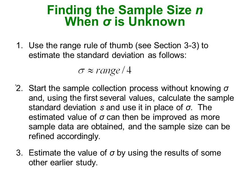 7 3 estimating a population mean ppt video online download finding the sample size n when is unknown ccuart Image collections