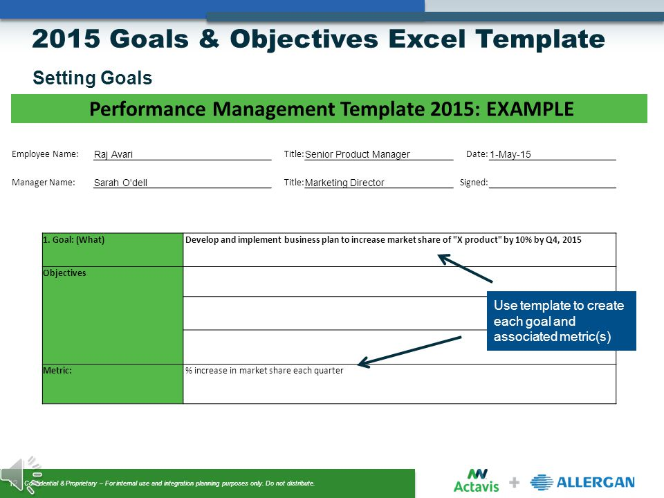Examples of Sales Performance Goals