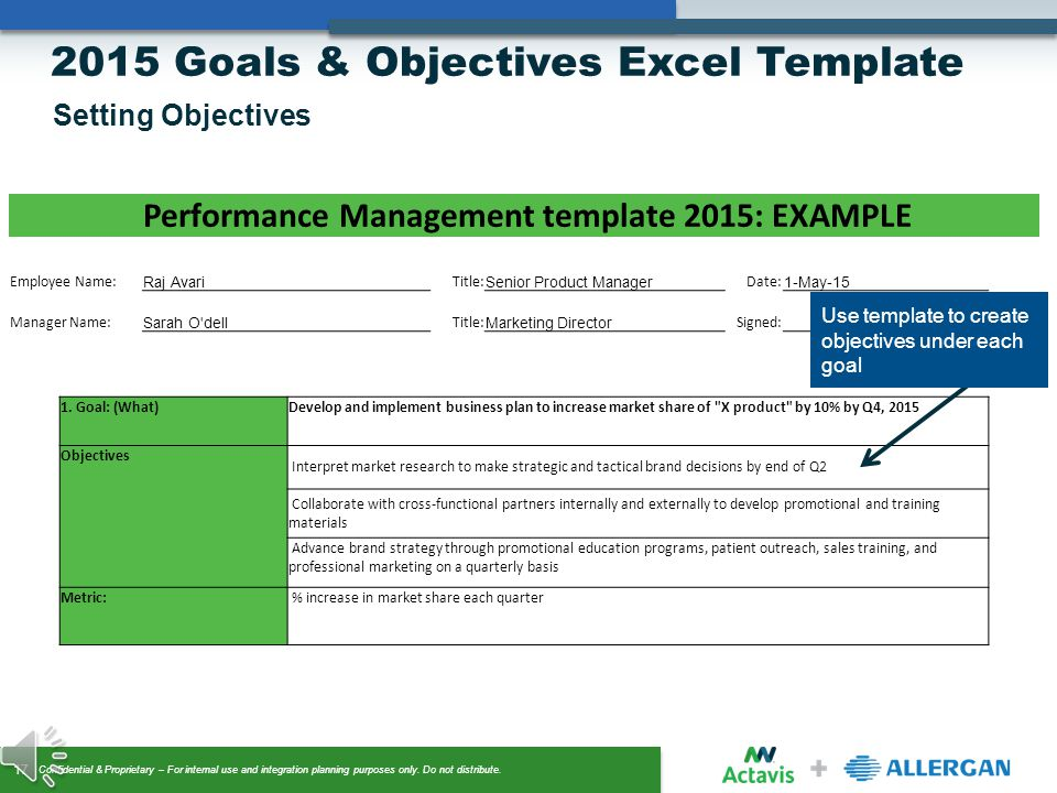 Goals objectives setting ppt video online download for Performance objective template