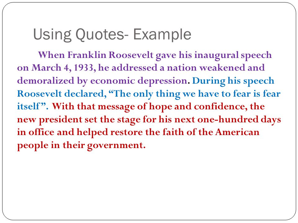 Using Quotes- Example