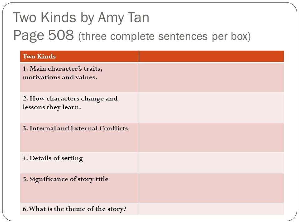 Two Kinds by Amy Tan Page 508 (three complete sentences per box)