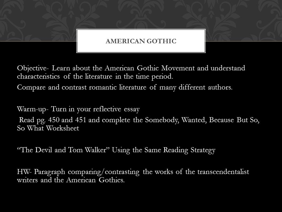 texts in time essay gothic literature With ghosts, spacious castles, and fainting heroes, gothic fiction conveys both thrill and intrigue gothic literature is a combination of horror fiction and romantic thought romantic thought encompasses awe toward nature essentially, romanticism is a reaction against the enlightenment, a time .