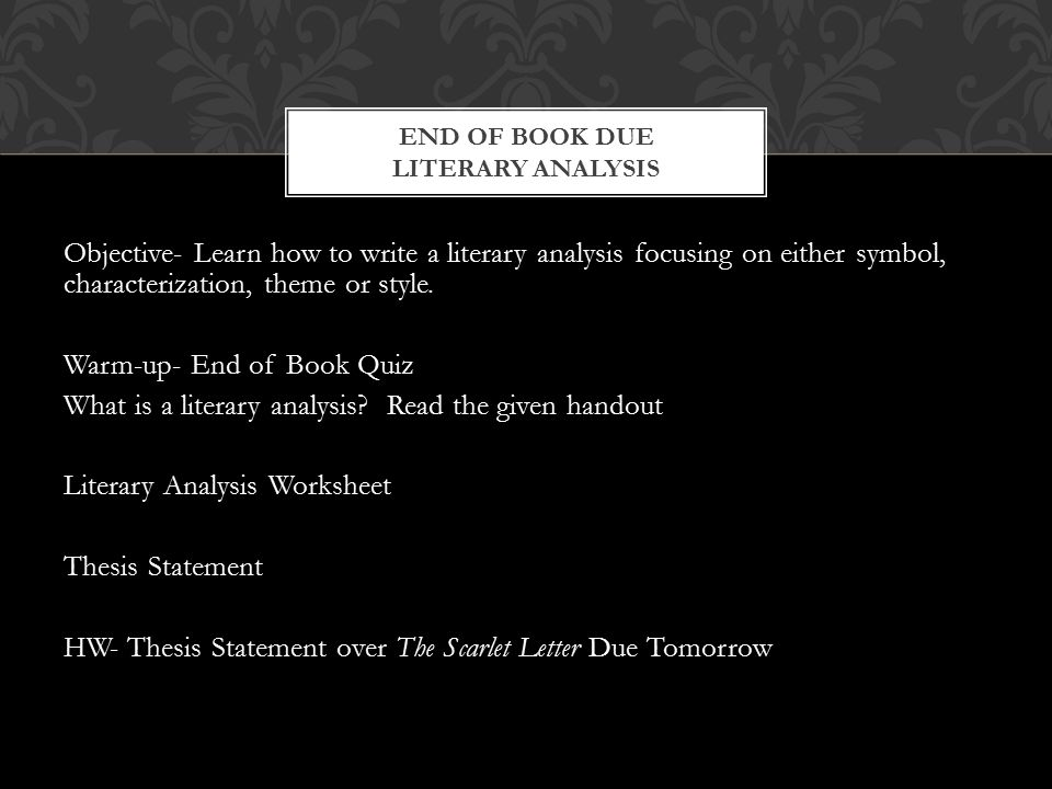 a literary analysis of the end of play From the web site for english 299: intro to literary analysis  the ways in which  several plot elements work out toward the end of a text or film  and these  juxtapositions should play a key role in how the work establishes its meaning,  and its.
