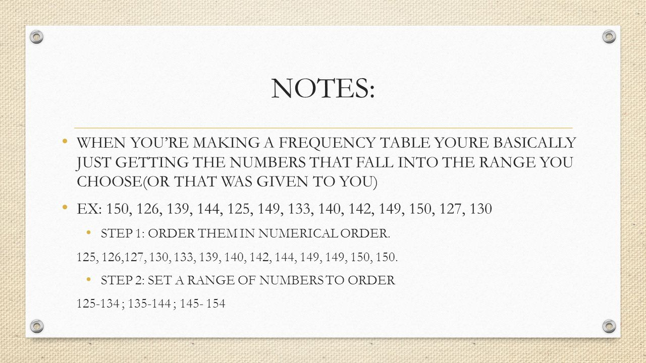 Notes: When You're Making A Frequency Table Youre Basically Just Getting  The Numbers