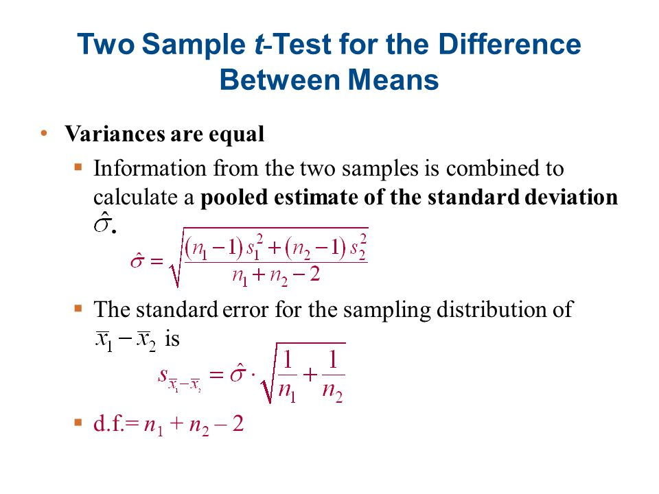 two sample t tests The t-test is used to test the null hypothesis that the means of two populations  are  select t-test: two-sample assuming unequal variances and click ok.