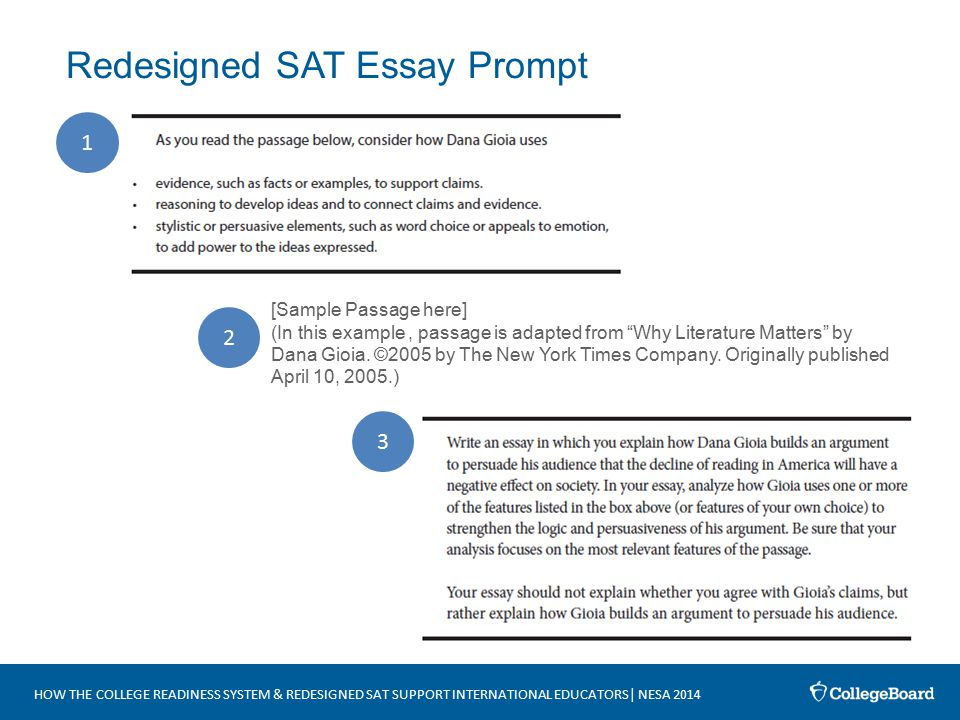 sat essay prompts and samples Examples, solutions, sat essay prompts or questions from march 2005 till the most recent sat released by college board.