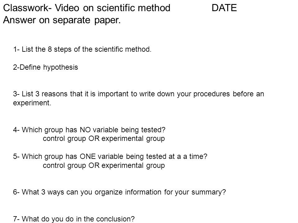 how to write a scientific method paper In order to make your paper as clear as possible, organize this section into  subsections with headers for each procedure.