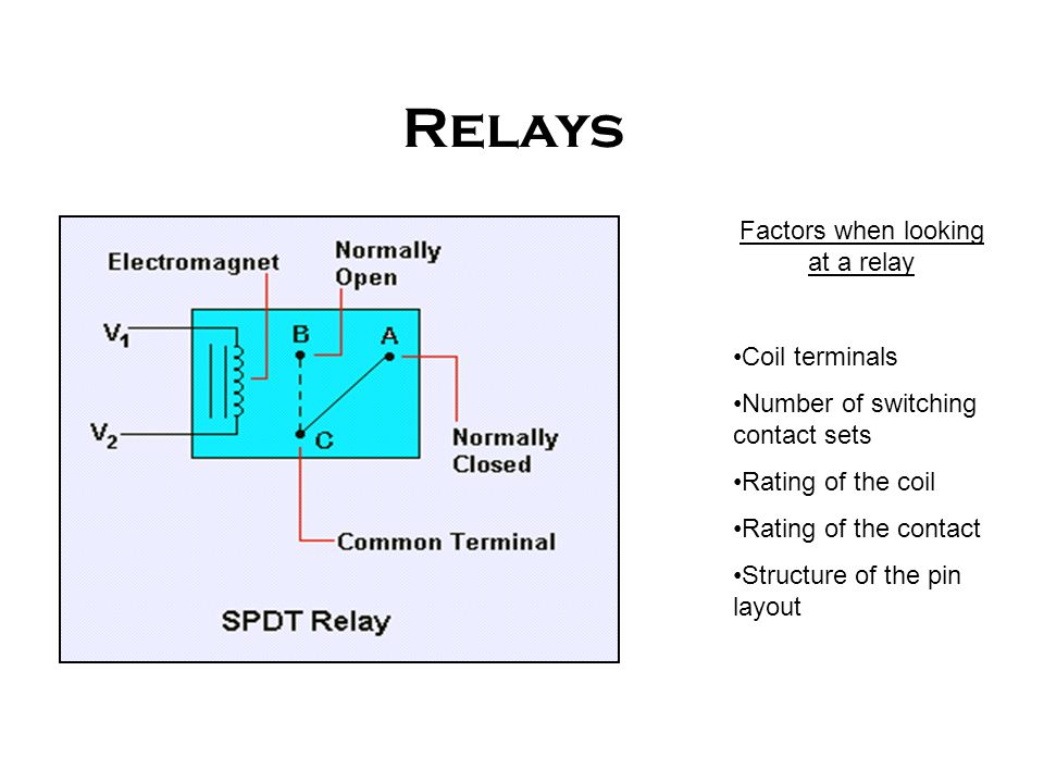 Factors when looking at a relay