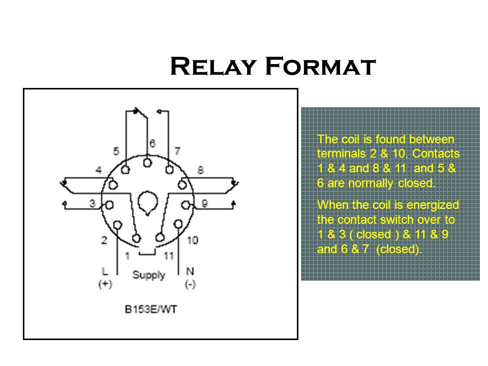 Relay Format The coil is found between terminals 2 & 10. Contacts 1 & 4 and 8 & 11 and 5 & 6 are normally closed.