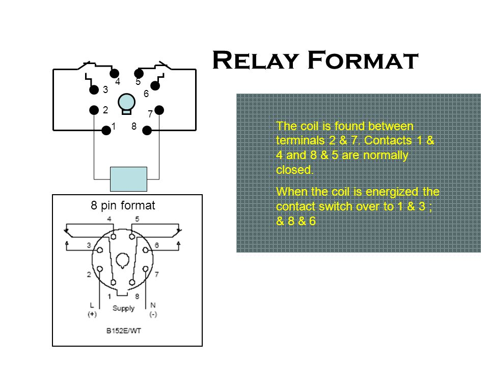 Relay Format The coil is found between terminals 2 & 7. Contacts 1 & 4 and 8 & 5 are normally closed.