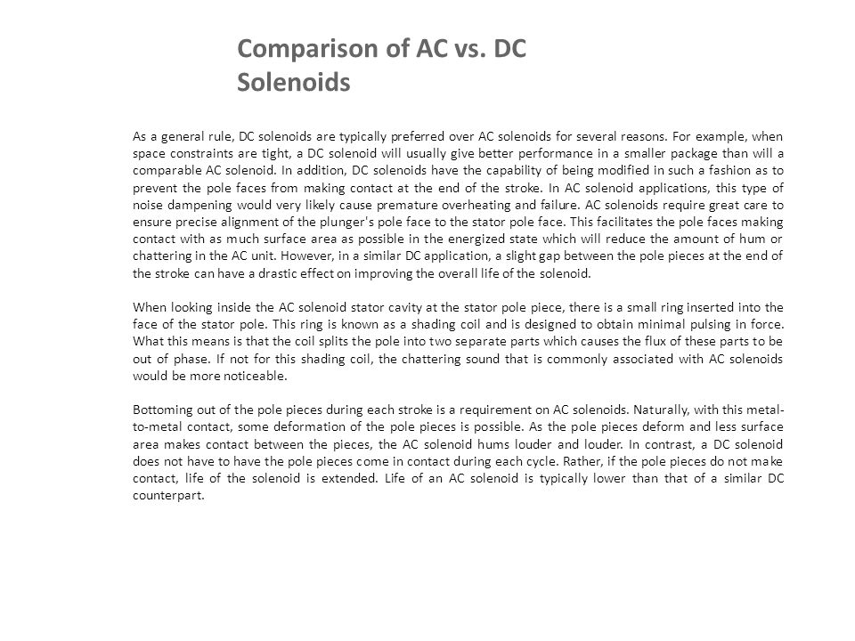 Comparison of AC vs. DC Solenoids