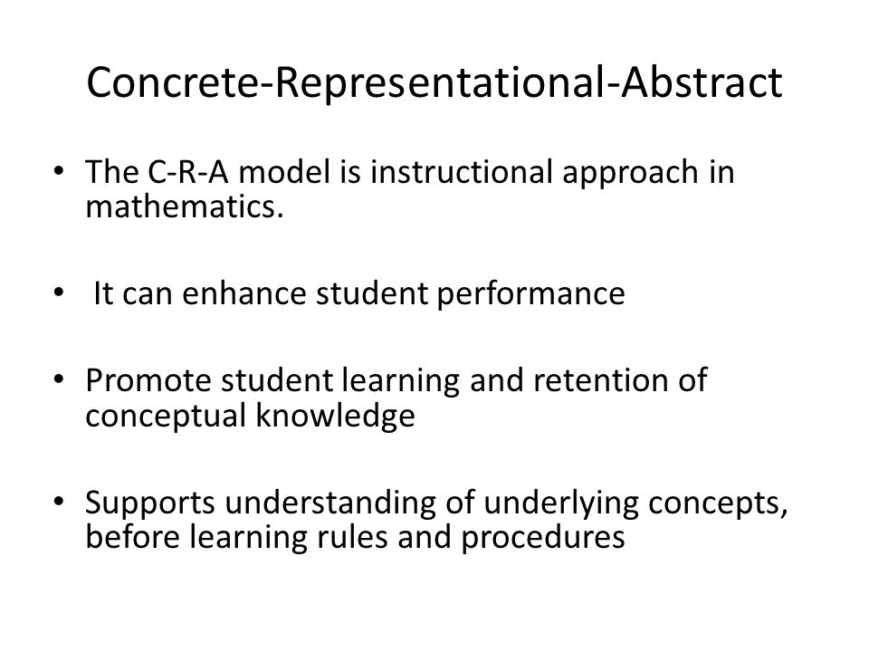 hauser jane concrete representational abstract instructional approach