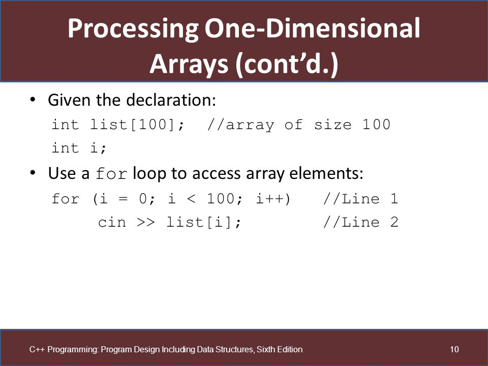 Processing One-Dimensional Arrays (cont'd.)