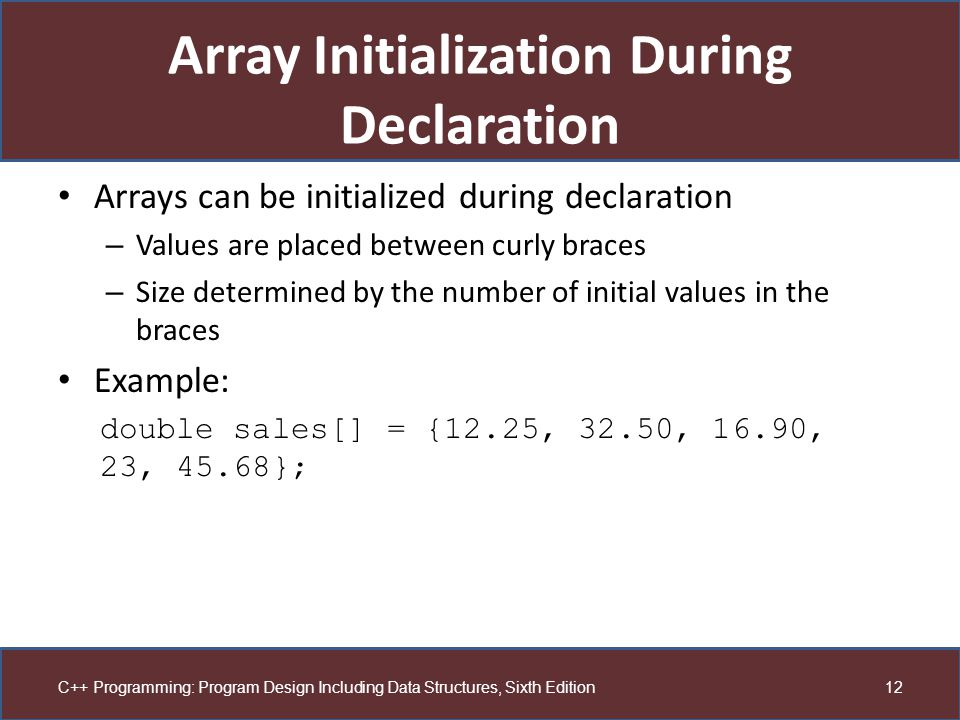 Array Initialization During Declaration