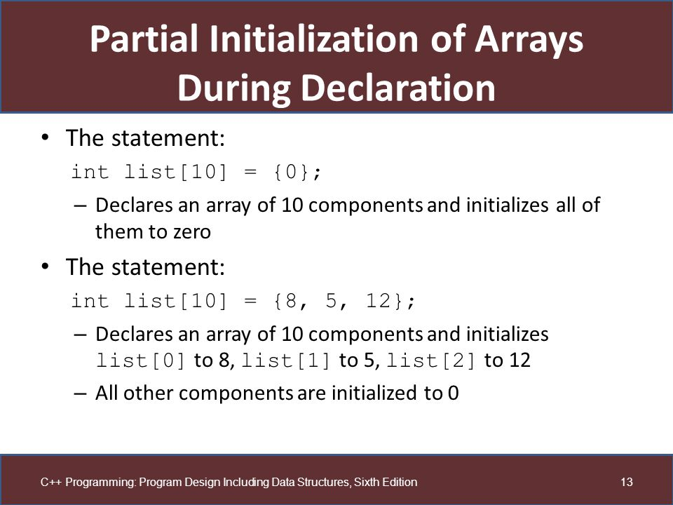 Partial Initialization of Arrays During Declaration