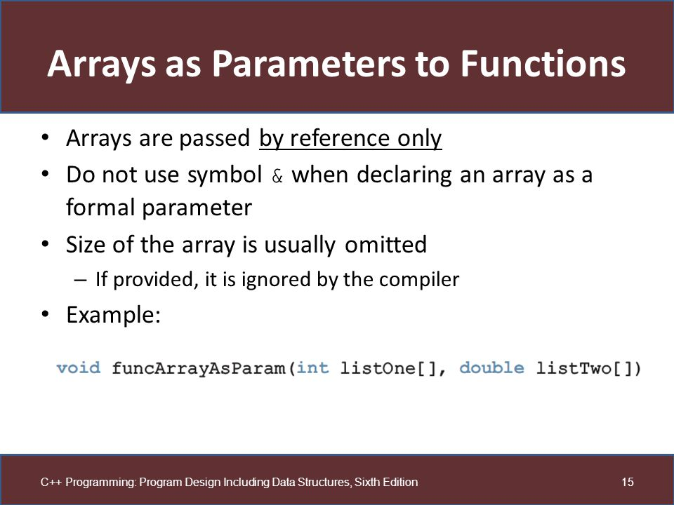 Arrays as Parameters to Functions
